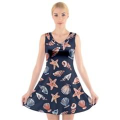Shells V-Neck Sleeveless Skater Dress