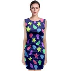 Shells Sleeveless Velvet Midi Dress