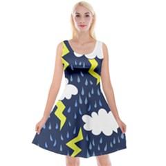 Thunderstorms Reversible Velvet Sleeveless Dress
