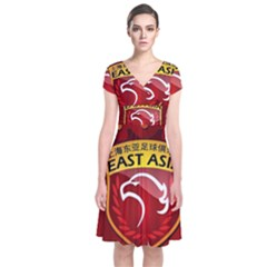 Shanghai Sipg F C  Short Sleeve Front Wrap Dress