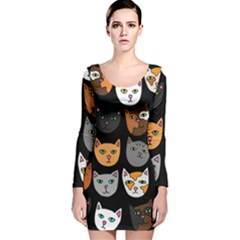 Cats Long Sleeve Velvet Bodycon Dress
