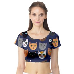 Cat  Short Sleeve Crop Top (Tight Fit)