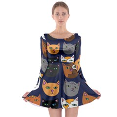 Cat  Long Sleeve Skater Dress