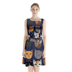 Cat  Sleeveless Chiffon Waist Tie Dress