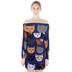 Cat  Long Sleeve Off Shoulder Dress
