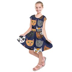 Cat  Kids  Short Sleeve Dress