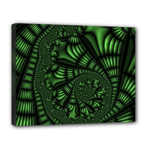 Fractal Drawing Green Spirals Canvas 14  X 11