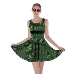 Fractal Drawing Green Spirals Skater Dress