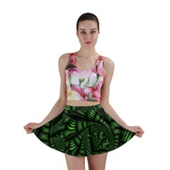 Fractal Drawing Green Spirals Mini Skirt