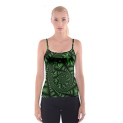 Fractal Drawing Green Spirals Spaghetti Strap Top
