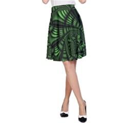 Fractal Drawing Green Spirals A Line Skirt