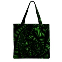 Fractal Drawing Green Spirals Zipper Grocery Tote Bag