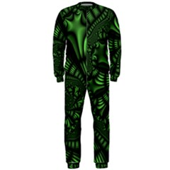 Fractal Drawing Green Spirals OnePiece Jumpsuit (Men)
