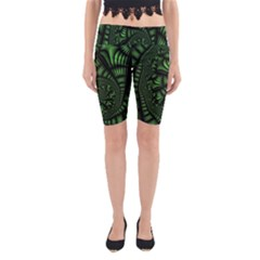 Fractal Drawing Green Spirals Yoga Cropped Leggings