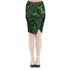 Fractal Drawing Green Spirals Midi Wrap Pencil Skirt