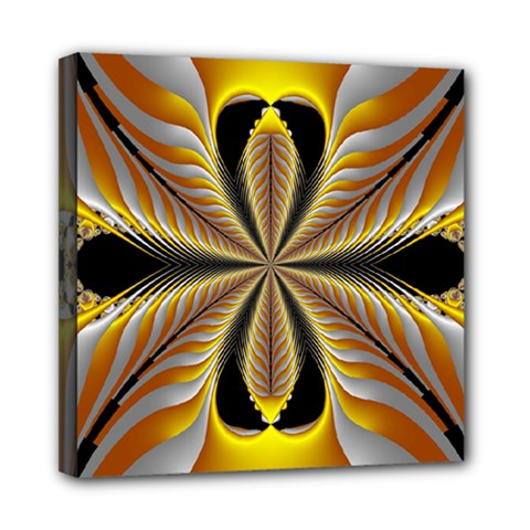 Fractal Yellow Butterfly In 3d Glass Frame Mini Canvas 8  X 8