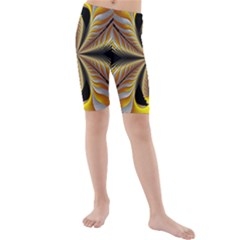 Fractal Yellow Butterfly In 3d Glass Frame Kids  Mid Length Swim Shorts