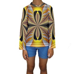 Fractal Yellow Butterfly In 3d Glass Frame Kids  Long Sleeve Swimwear