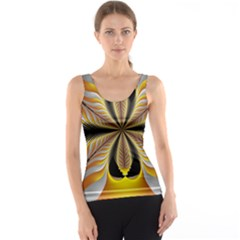 Fractal Yellow Butterfly In 3d Glass Frame Tank Top