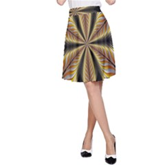Fractal Yellow Butterfly In 3d Glass Frame A-Line Skirt