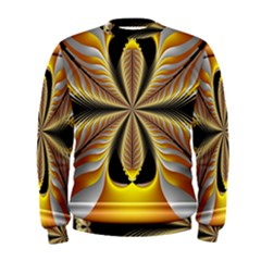 Fractal Yellow Butterfly In 3d Glass Frame Men s Sweatshirt