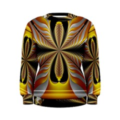 Fractal Yellow Butterfly In 3d Glass Frame Women s Sweatshirt
