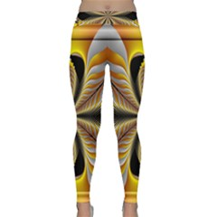 Fractal Yellow Butterfly In 3d Glass Frame Classic Yoga Leggings