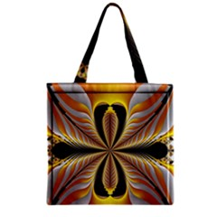Fractal Yellow Butterfly In 3d Glass Frame Zipper Grocery Tote Bag
