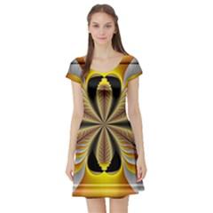 Fractal Yellow Butterfly In 3d Glass Frame Short Sleeve Skater Dress