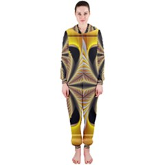 Fractal Yellow Butterfly In 3d Glass Frame Hooded Jumpsuit (Ladies)
