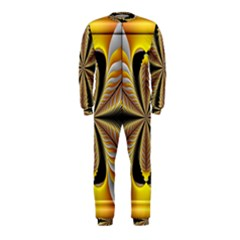 Fractal Yellow Butterfly In 3d Glass Frame OnePiece Jumpsuit (Kids)
