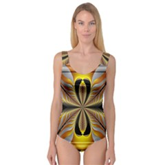Fractal Yellow Butterfly In 3d Glass Frame Princess Tank Leotard