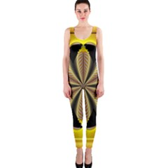Fractal Yellow Butterfly In 3d Glass Frame OnePiece Catsuit