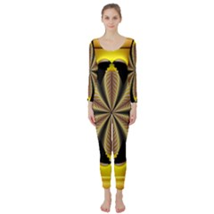 Fractal Yellow Butterfly In 3d Glass Frame Long Sleeve Catsuit
