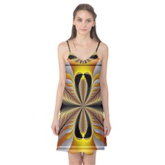 Fractal Yellow Butterfly In 3d Glass Frame Camis Nightgown