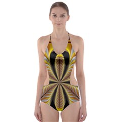 Fractal Yellow Butterfly In 3d Glass Frame Cut Out One Piece Swimsuit