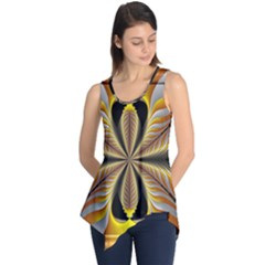 Fractal Yellow Butterfly In 3d Glass Frame Sleeveless Tunic