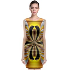 Fractal Yellow Butterfly In 3d Glass Frame Classic Sleeveless Midi Dress