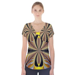 Fractal Yellow Butterfly In 3d Glass Frame Short Sleeve Front Detail Top