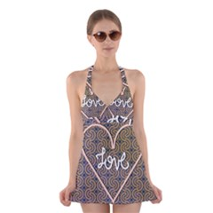 I Love You Love Background Halter Swimsuit Dress