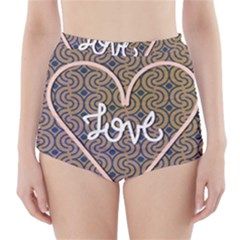 I Love You Love Background High Waisted Bikini Bottoms
