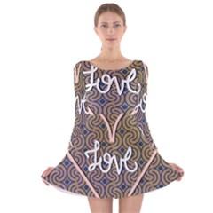 I Love You Love Background Long Sleeve Velvet Skater Dress