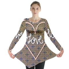 I Love You Love Background Long Sleeve Tunic