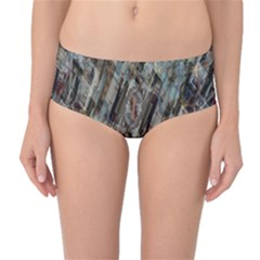 Abstract Chinese Background Created From Building Kaleidoscope Mid Waist Bikini Bottoms