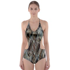 Abstract Chinese Background Created From Building Kaleidoscope Cut Out One Piece Swimsuit