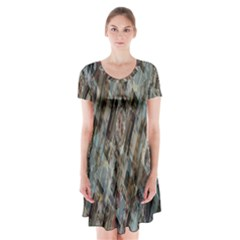 Abstract Chinese Background Created From Building Kaleidoscope Short Sleeve V-neck Flare Dress