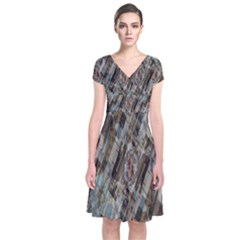 Abstract Chinese Background Created From Building Kaleidoscope Short Sleeve Front Wrap Dress