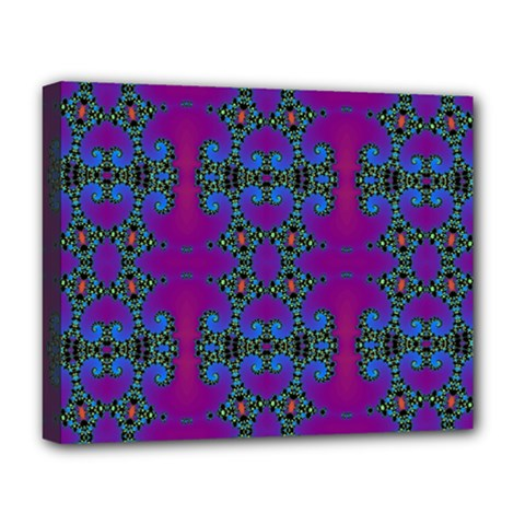 Purple Seamless Pattern Digital Computer Graphic Fractal Wallpaper Deluxe Canvas 20  x 16