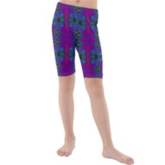 Purple Seamless Pattern Digital Computer Graphic Fractal Wallpaper Kids  Mid Length Swim Shorts