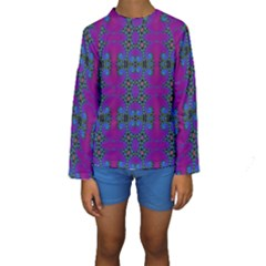 Purple Seamless Pattern Digital Computer Graphic Fractal Wallpaper Kids  Long Sleeve Swimwear